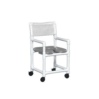 "Standard Soft Seat Shower Chair 17"" Clearance Gray Seat White   1 EA"