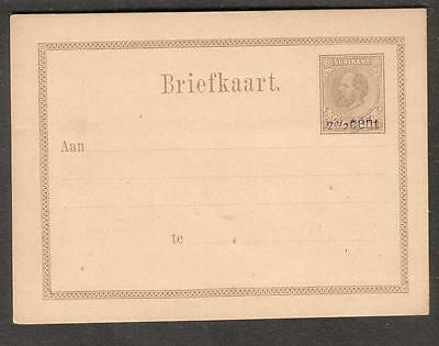 Netherlands Suriname Briefkaart King William III overprint postal card unused