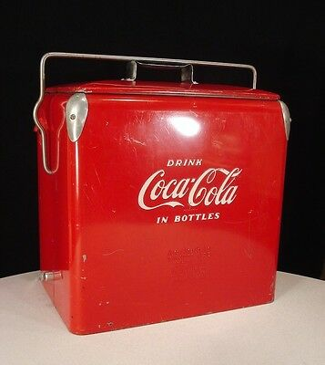 UNRESTORED 1950's Vintage COCA-COLA Action Cooler ICE CHEST RAISED Letters +TRAY