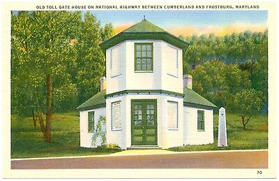 Vintage Linen Postcard Old Toll Gate House National Hwy Frostburg Cumberland MD