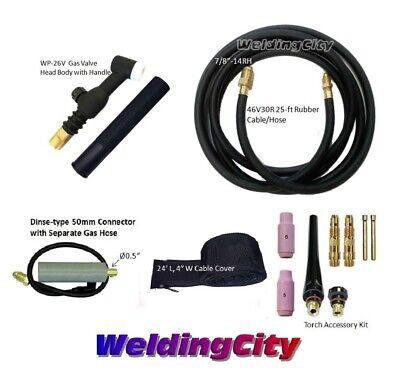Miller Rear TIG Welding Torch WP-26V Gas Valve 200A 25-FT Air-Cool | US Seller