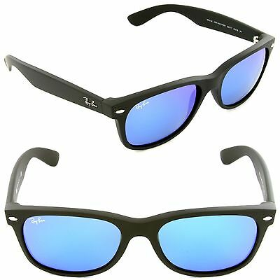 100% Authentic New Ray Ban Sunglasses RB2132 622/17 52MM MATTE BLK/ BLUE LENS