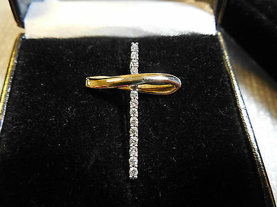 14K YELLOW & WHITE GOLD CROSS PENDANT ACCENTED WITH NATURAL DIAMONDS