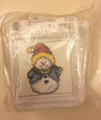 LOT 4 Counted Cross Stitch COASTERS Kit Christmas Snowman SnowBaby New Sealed