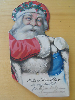 Vintage Santa Claus Money Holder Christmas Card RARE  Exc Condition 1930's