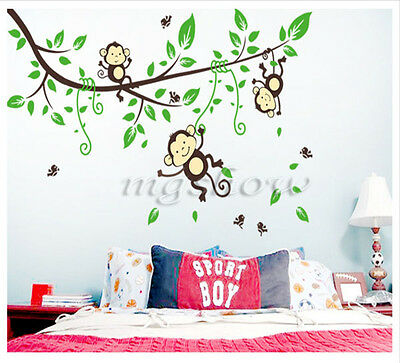 Jungle Monkey Tree Wall Sticker Vinyl Removable Kid Nursery Kids Art Decor Decal