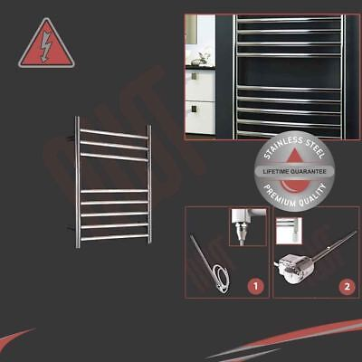 350mm(w) x 600mm(h) Electric 150W Polished Stainless Steel Towel Rail Pre-filled