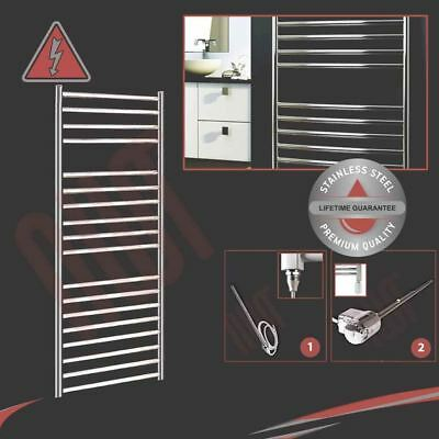 600mm(w) x 1400mm(h) Electric 600W Polished Stainless Steel Towel Rail Prefilled