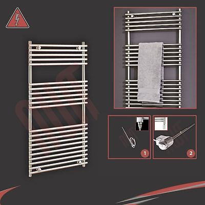 "600mm (w) x 1200mm (h) Pre-filled Electric ""Polaris"" Chrome Towel Rail - 300W"