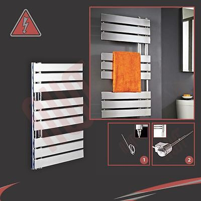 "500mm (w) x 800mm (h) Pre-filled Electric ""Apollo"" Chrome Towel Rail - 150W"
