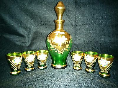 Vintage Italy Green Glass Set Decanter & 6 Shot Glasses Floral on Gold