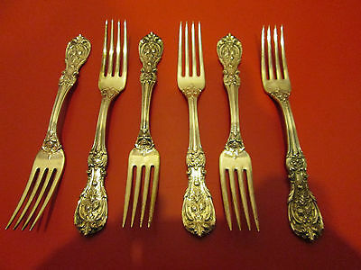 6  FRANCIS I Pattern  STERLING Silver 7 1/4 in FORKS  w/OLD MARK   #3  NR