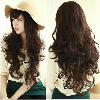 New Full Wigs Womens Girls Long Curly Wavy Hair Wig For Cosplay Party Dark Brown