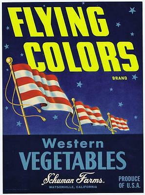 Flying Colors, 3 flags, vintage crate label, western vergetables, schuman Farms