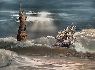"""NEW YORK CITY. STATUE OF LIBERTY Stormy Day Painting on giclee canvas 16""""x20"""""""