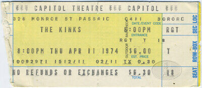 THE KINKS 1974 PRESERVATION ACT Concert Ticket Stub