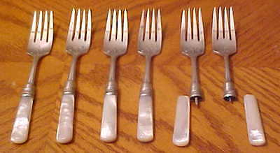 """Sterling dinner forks (6) w/mother of pearl handles 7"""" long  20.2g w/no handle"""