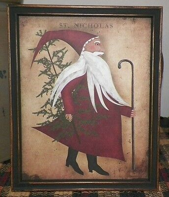 UNFRAMED PRINT Primitive Santa Claus Christmas Picture Folk Art Tree Country