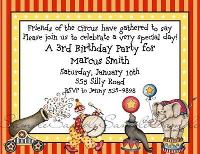 Circus Carnival Clown Animals Personalized Birthday Party Invitations