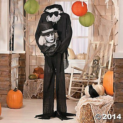 GOTHIC ZOMBIE WITH ROTATING HEAD HALLOWEEN LIFESIZE ANIMATED PROP DECORATION
