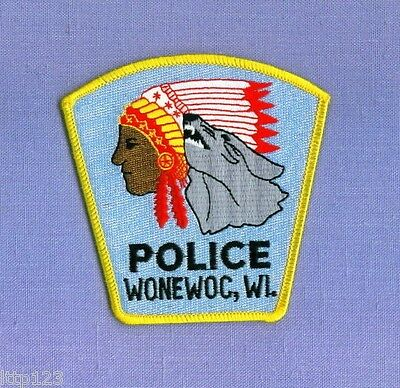 WONEWOC WISCONSIN WI Sheriff Police Patch INDIAN HOWLING WOLF NATIVE AMERICAN