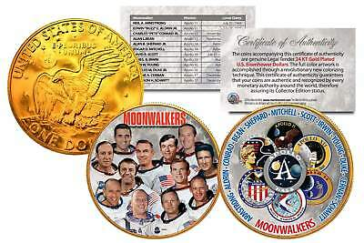 MOONWALKERS Apollo NASA Astronauts IKE Dollars 2-Coin Set 24K Gold Plated SPACE