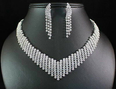 VEGAS CLEAR AUSTRIAN RHINESTONE CRYSTAL NECKLACE EARRINGS SET BRIDAL WED N1429