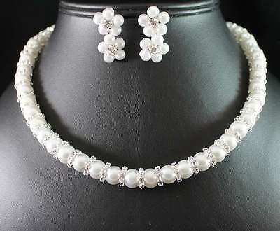 PEARL CLEAR AUSTRIAN RHINESTONE CRYSTAL NECKLACE EARRINGS SET WED BRIDAL N1771SE
