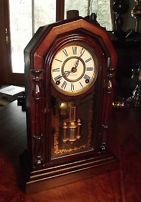 Antique Ingraham Faux Painted Rosewood Parlor Clock Bell Chime Very Original