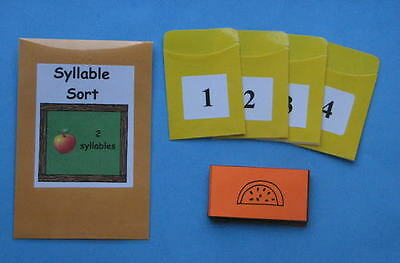 Teacher Made Literacy Center Resource Game Syllable Sort