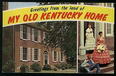 GREETINGS FROM THE LAND OF MY OLD KENTUCKY HOME BARDSTOWN CHROME POSTCARD CON:VG