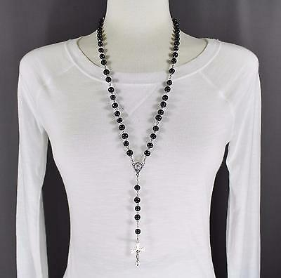 """Black wood wooden bead beaded rosary silver cross 27"""" long necklace"""
