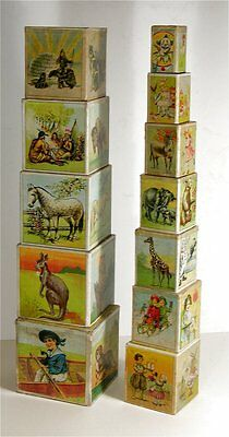 ca1900 CHROMOLITHOGRAPH STACKING / NESTING ABC BLOCKS COMPLETE McLOUGHLIN STYLE