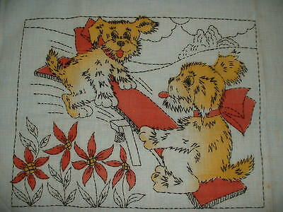 Vintage Tinted Embroidered Pillow Cover~Puppies on a See Saw~Penn Needle Art