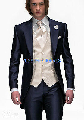 New Navy Blue Mens Tuxedos Suits Bridegroom Groomsmen Wedding Suits Custom Made