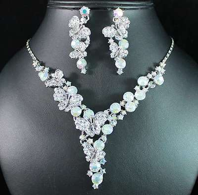 BUTTERFLIES AB WHITE AUSTRIAN RHINESTONE CRYSTAL NECKLACE EARRINGS SET WED N1751