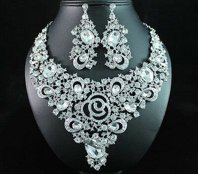 ROSE CLEAR AUSTRIAN RHINESTONE CRYSTAL BIB NECKLACE EARRINGS SET BRIDAL N1691