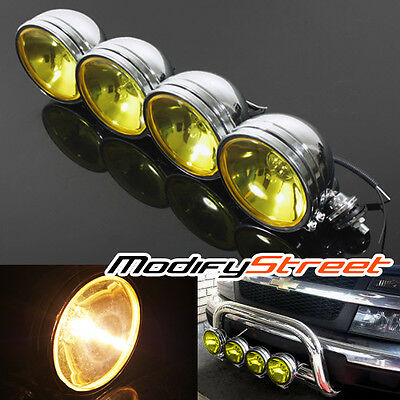 """4PC 6"""" CHROME YELLOW 55W HALOGEN OFF ROAD DRIVING LIGHT TRACTOR/TRUCK/WORK LAMP"""