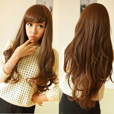 Women's Wig Sexy Brown Long Wavy Curly Natural Full Wig Hair Cosplay Costume
