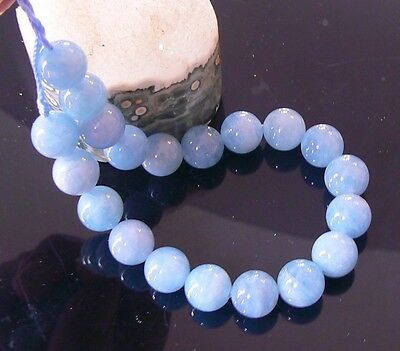 "20 RARE AQUAMARINE ROUND BEADS 10mm NATURAL GEMMY SEA BLUE COLOR 8"" STRAND"