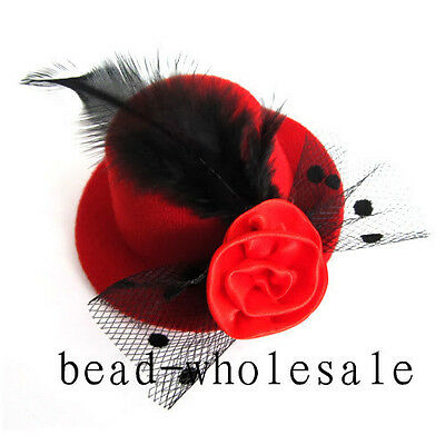 1pc red color Elegant Mini Top Feather Hat Fascinator Hair Clip Party Costume