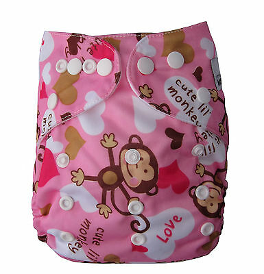 Modern Cloth Nappies & Insert - Reusable - One Size Fits All - Monky Girl