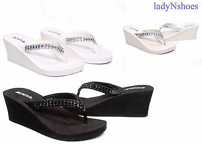 NEW Soda Womens Rhinestone Bow Thong  Casual Wedge Sandals Shoes Size 5.5 - 11
