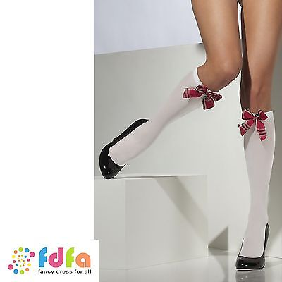 WHITE SCHOOL GIRL KNEE HIGH SOCKS WITH TARTAIN BOW ladies womens hosiery