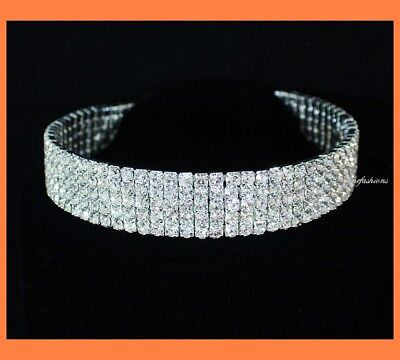 5-ROW CLEAR AUSTRIAN RHINESTONE CRYSTAL CHOKER NECKLACE PARTY WEDDING PROM N060