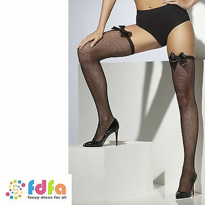 BLACK FISHNET HOLD UPS STOCKINGS WITH BOWS ladies womens hosiery