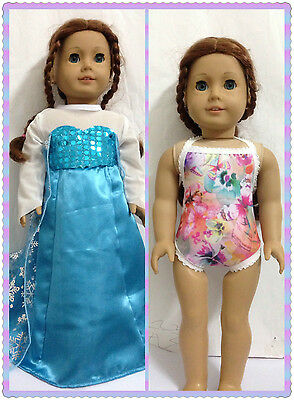 "American free shipping Doll Clothes frozen Elsa dress Swimsuit fits 18"" Doll"