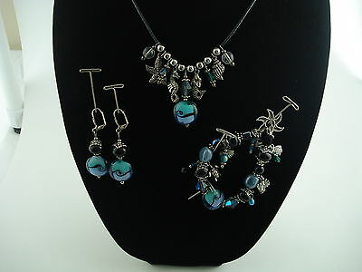 HANDCRAFTED ARTISAN NECKLACE,BRACELET & EARRING SET LAMPWORK CRYSTALS PEARLS