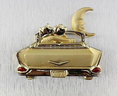 Vintage 70's Gold Tone 57 Chevy Car Cat Moon Pin Brooch Signed AJC