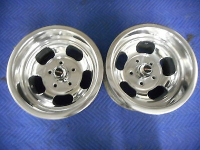 VINTAGE 14X8.5 PAIR POLISHED US INDY MAGS STYLE  NICE 5 ON 4 3/4 CHEVY HOTROD
